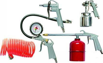 Набор пневмоинструмента MATRIX 5 предметов, краскопульт с нижним бачком